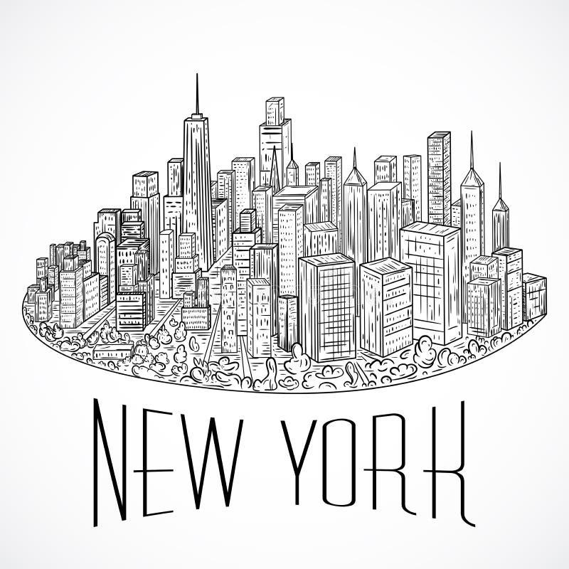 Line Art New York : New york vintage hand drawn city landscape vector