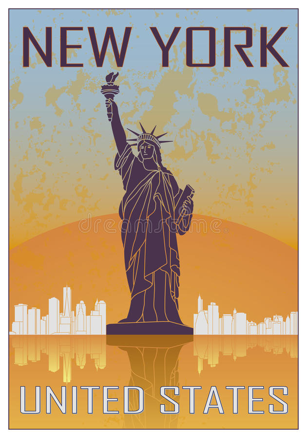 New York Vintage Poster Stock Vector Illustration Of Vector
