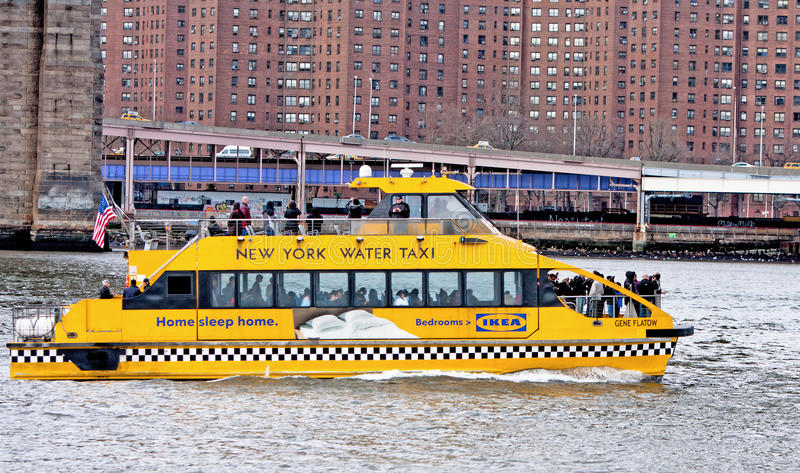 New York Water Taxi. The NYC water taxi in the East River stock image