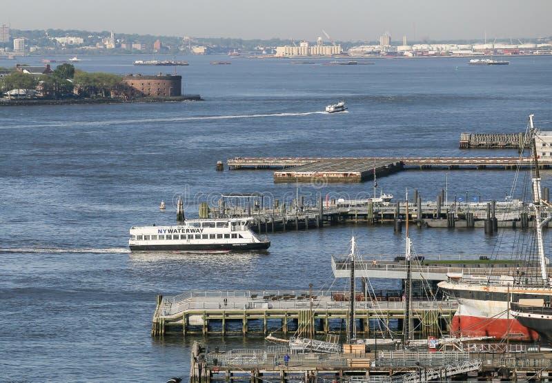 New York Waterway. New York City, USA - May 20, 2014: Ferry of New York Waterway at Pier in Manhattan royalty free stock photography