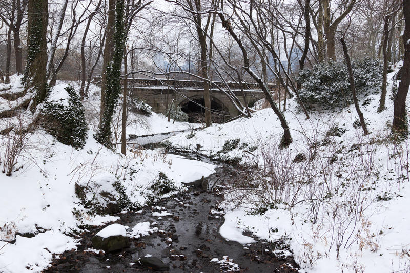 New york winter landscape at central park. Bridge over river with white snow in a park stock images