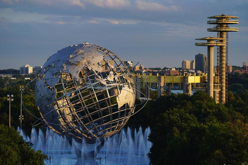 1964 New York World`s Fair Unisphere in Flushing Meadows Park. NEW YORK - AUGUST 30, 2018: 1964 New York World`s Fair Unisphere in Flushing Meadows Park. It is stock photo