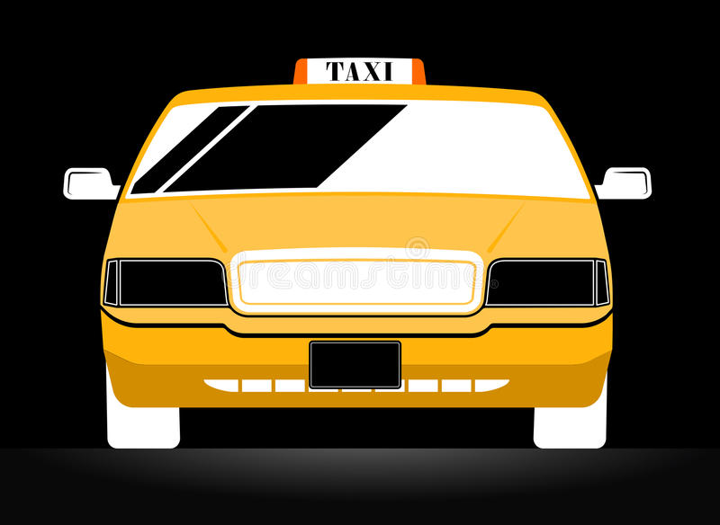 New York Yellow Taxi Cab. On black background royalty free illustration