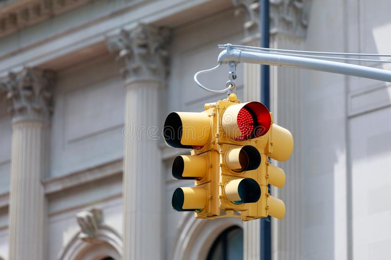 New York yellow traffic light stock images