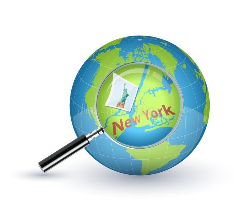 New York zoomade med förstoringsglaset på världsjordklotet stock illustrationer