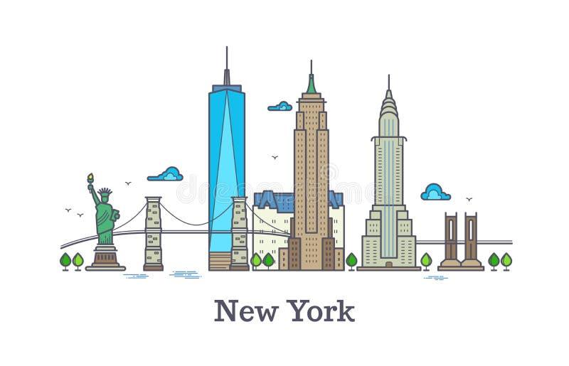 New- Yorklinie Vektorsymbol, nyc Schattenbild-Entwurfspanorama, Amerika-Skylinevektorillustration lizenzfreie abbildung