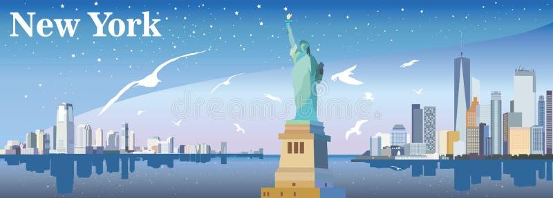 New- Yorkschattenbild mit Seemöwen stock abbildung