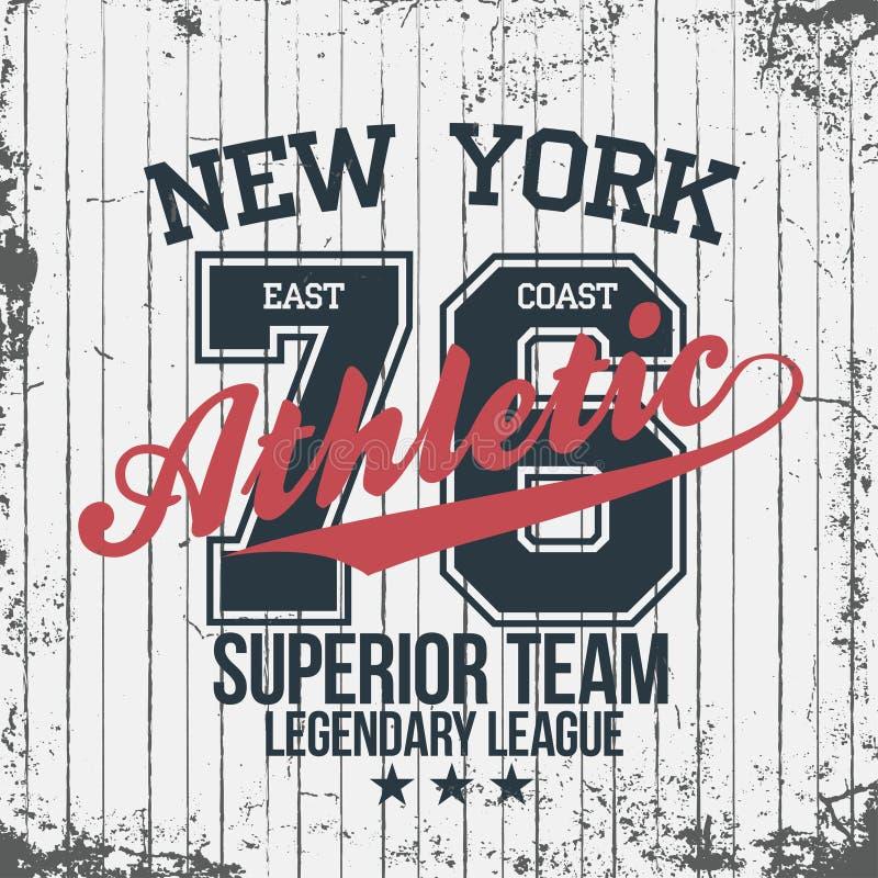 New- Yorksportkleidungsemblem Athletisches Hochschulkleiderdesign mit Beschriftung stock abbildung