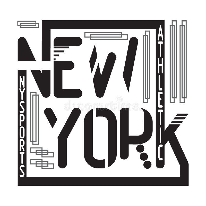 New- Yorkt-shirt Typografie lizenzfreie abbildung