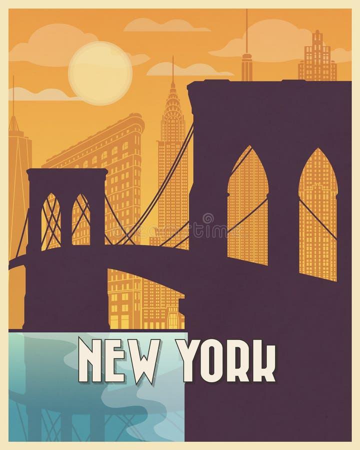 New- Yorkweinleseplakatreise vektor abbildung