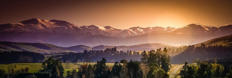 New Zealand Alps panorama royalty free stock photography