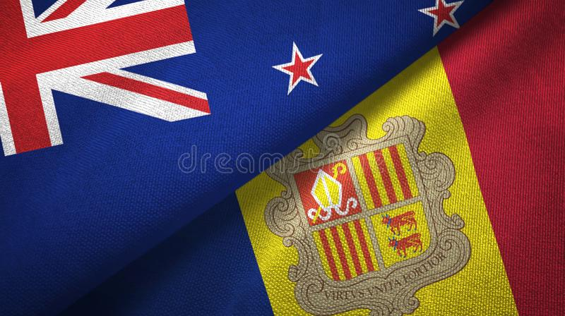 New Zealand and Andorra two flags textile cloth, fabric texture. New Zealand and Andorra two folded flags together vector illustration