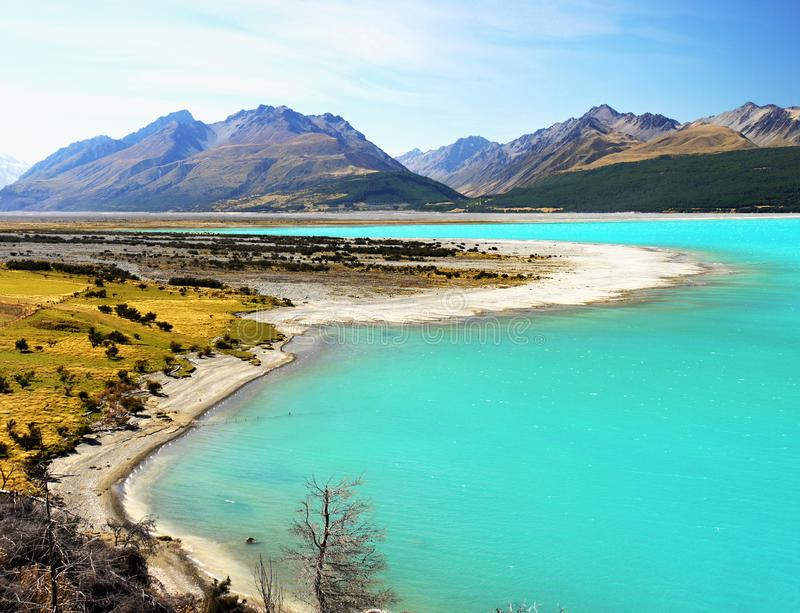 New Zealand, Beautiful Lake and Mountains Landscape. New Zealand, Beautiful Lake Pukaki and scenic mountains landscape scenery in Southern Alps. South Island, NZ stock photos