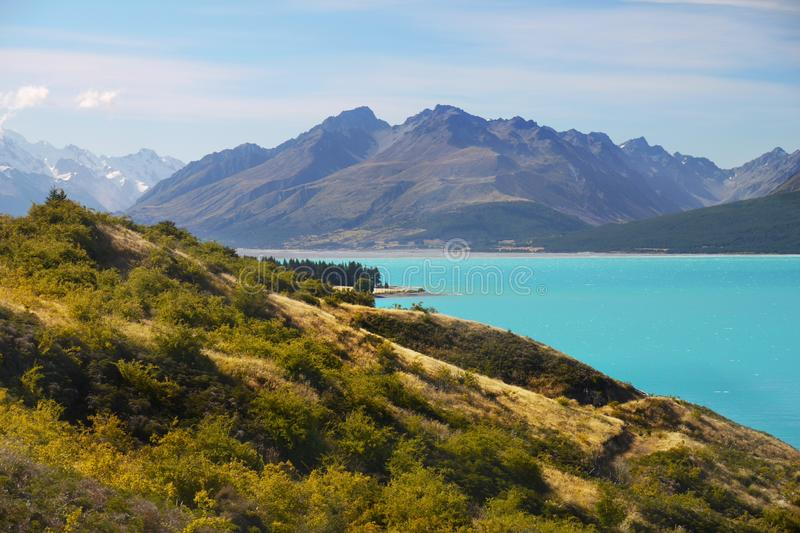 New Zealand, Beautiful Lakes and Landscape. New Zealand, Beautiful Lake Pukaki and scenic landscape scenery in Southern Alps. South Island, NZ royalty free stock photos