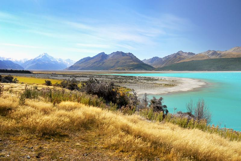 New Zealand, Beautiful Lakes and Landscape. New Zealand, Beautiful Lake Pukaki and scenic landscape scenery in Southern Alps. South Island, NZ stock image