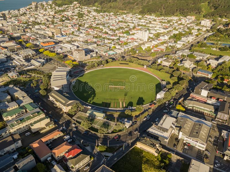 New Zealand Cricket Pitch Wellington stock photography