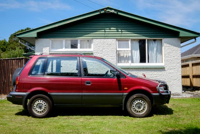 A 1995 Mitsubishi RVR. NEW ZEALAND, CHRISTCHURCH - OCTOBER 2015: A 1995 Mitsubishi RVR in Christchurch, New Zealand. 1st Gen Mitsubishi RVR is a range of cars stock photography