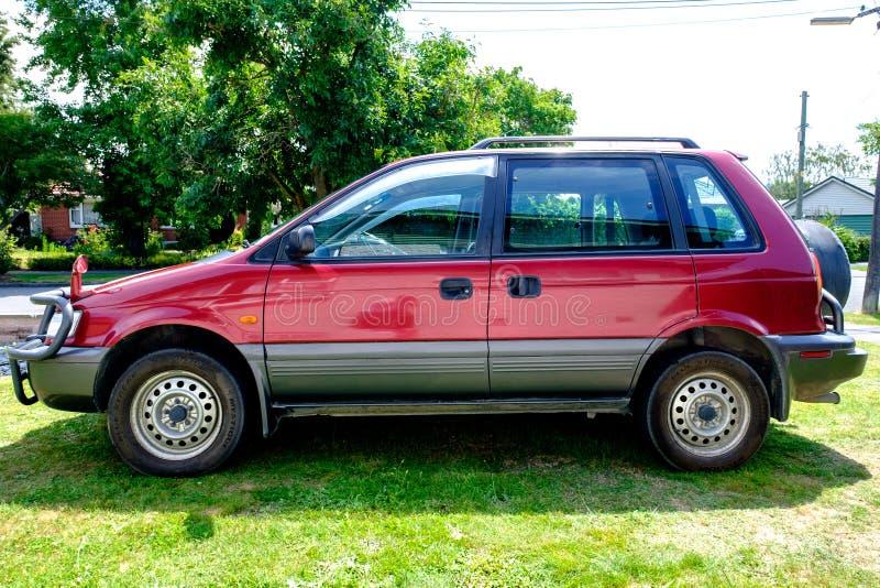 A 1995 Mitsubishi RVR. NEW ZEALAND, CHRISTCHURCH - OCTOBER 2015: A 1995 Mitsubishi RVR in Christchurch, New Zealand. 1st Gen Mitsubishi RVR is a range of cars royalty free stock image