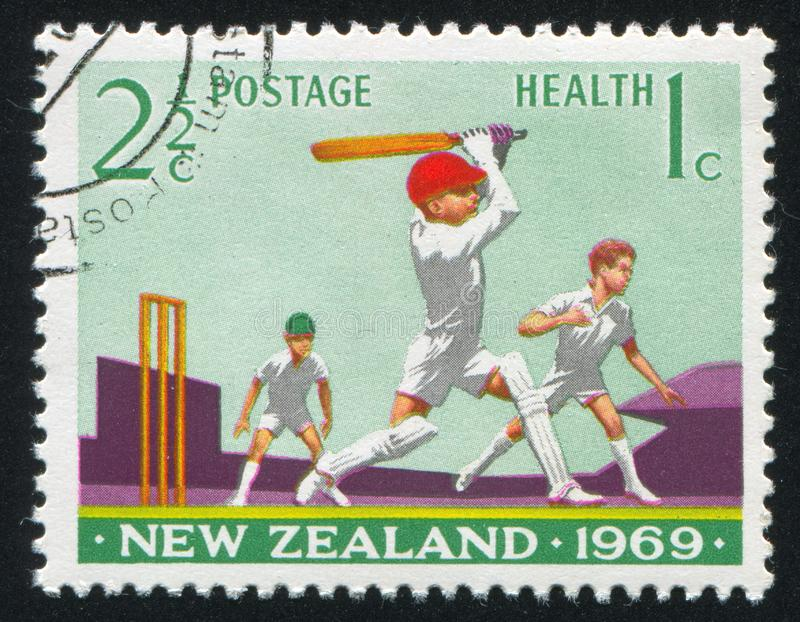 Boys Playing Cricket stock image
