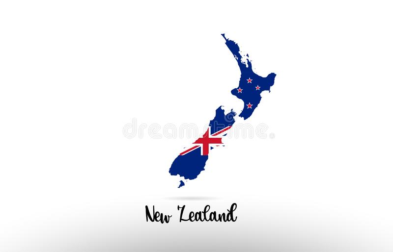 New Zealand country flag inside map contour design icon logo. New Zealand country flag inside country border map design suitable for a logo icon design stock illustration