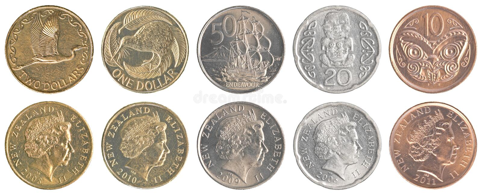New Zealand Dollar Coins Collection Set Stock Photo