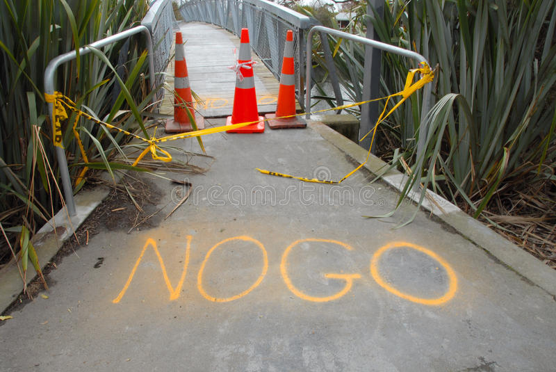 New Zealand Earthquake damage footbridge warped. 4th september 4.36am Christchurch, New Zealands 3rd largest city. 7.1 magnitute. Miraculously no deaths, but stock photography