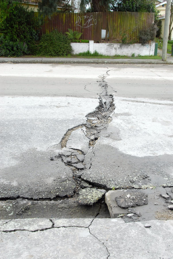 New Zealand Earthquake damage road cracks. 4th september 4.36am Christchurch, New Zealands 3rd largest city. 7.1 magnitute. Miraculously no deaths, but everyone stock photos