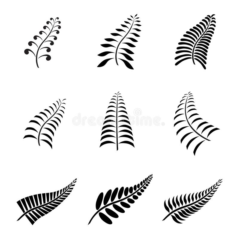 New Zealand Fern Leaf Tattoo and Logo with Maori Style Koru Design. Grouped royalty free illustration