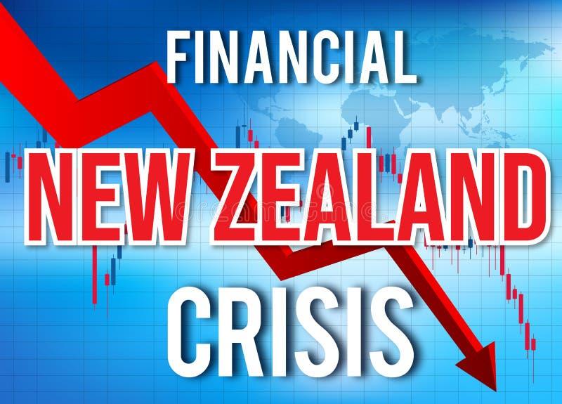 New Zealand Financial Crisis Economic Collapse Market Crash Global Meltdown. Illustration vector illustration