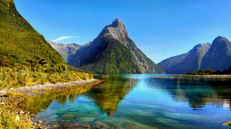New Zealand, Fiordland National Park, Milford Sound. Spectacular scenery with high mountains and landscape in Milford Sound. Fiordland National Park, New Zealand stock photo