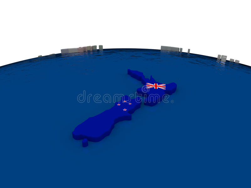 Download New Zealand with flag stock illustration. Image of travel - 83716248