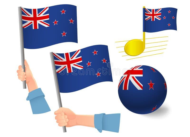 New Zealand flag icon set. National flag of New Zealand vector illustration stock illustration