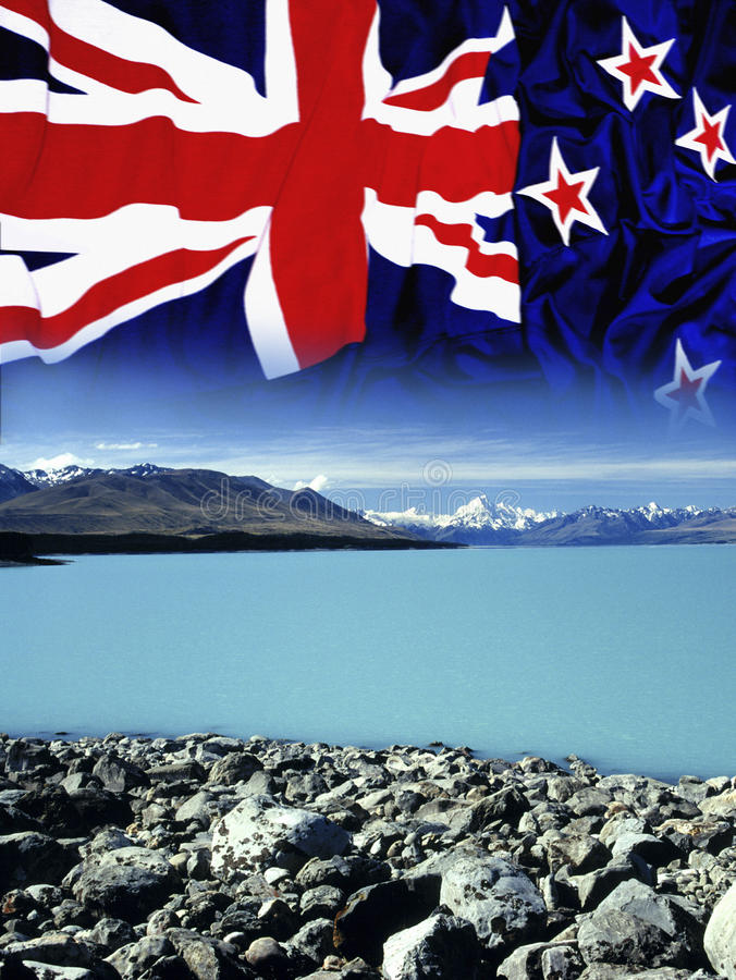 Free New Zealand - Flag - Mount Cook Royalty Free Stock Photo - 14965415