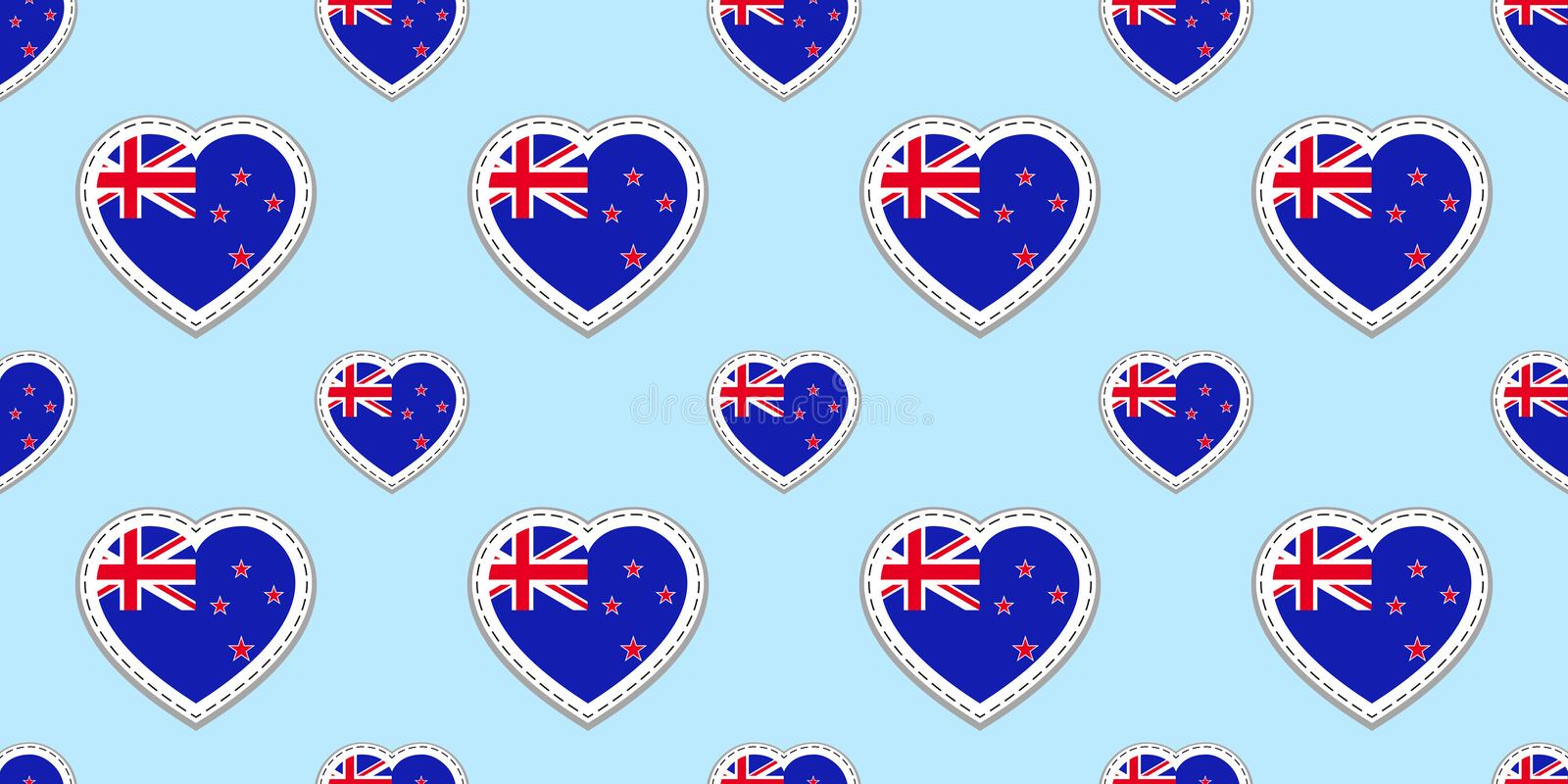 New Zealand flag seamless pattern. Vector flags stikers. Love hearts symbols. Texture for language courses, sports pages, travel,. Geographic design elements stock illustration