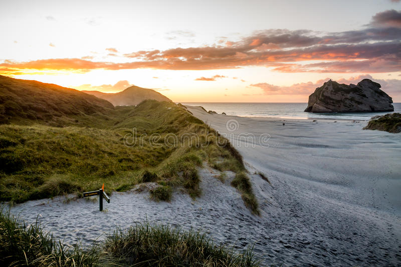 New Zealand Golden Bay Sunset royalty free stock images