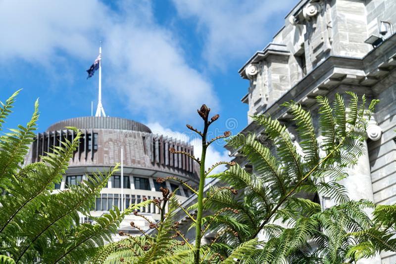 New Zealand Government buildings. House neo classical style House of Parliament with Beehive behind with iconic ponga fern frond one of NZ`s emblems stock image
