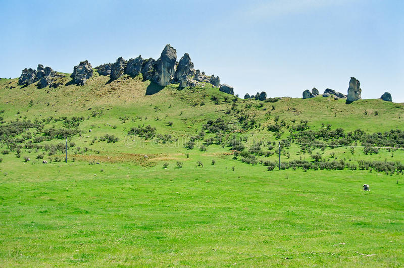 New Zealand Green hills and Rocks stock photography