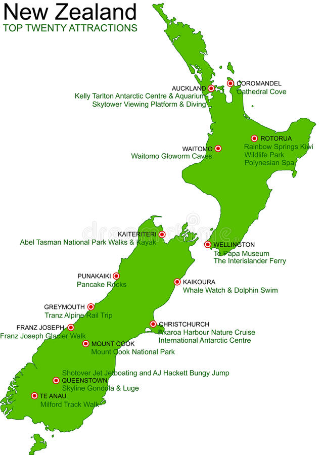 New Zealand Green Vector Map - Top 20 Attractions vector illustration