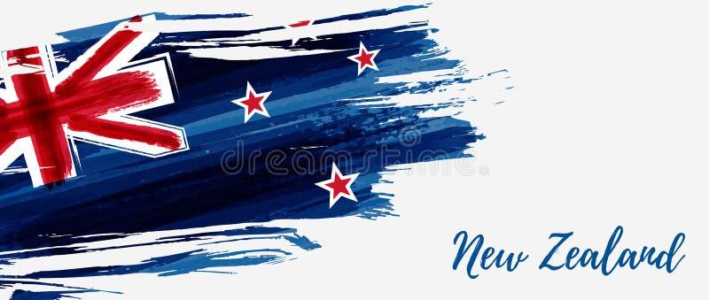New Zealand grunge flag banner stock illustration