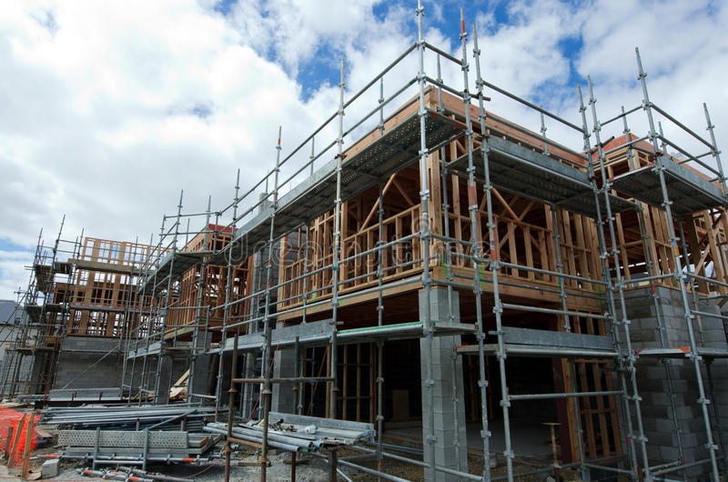 New Zealand Housing Property and Real Estate Market. AUCKLAND,NZ - JAN 11:New homes building site on JAN 11 2014.House prices are booming around New Zealand stock photo