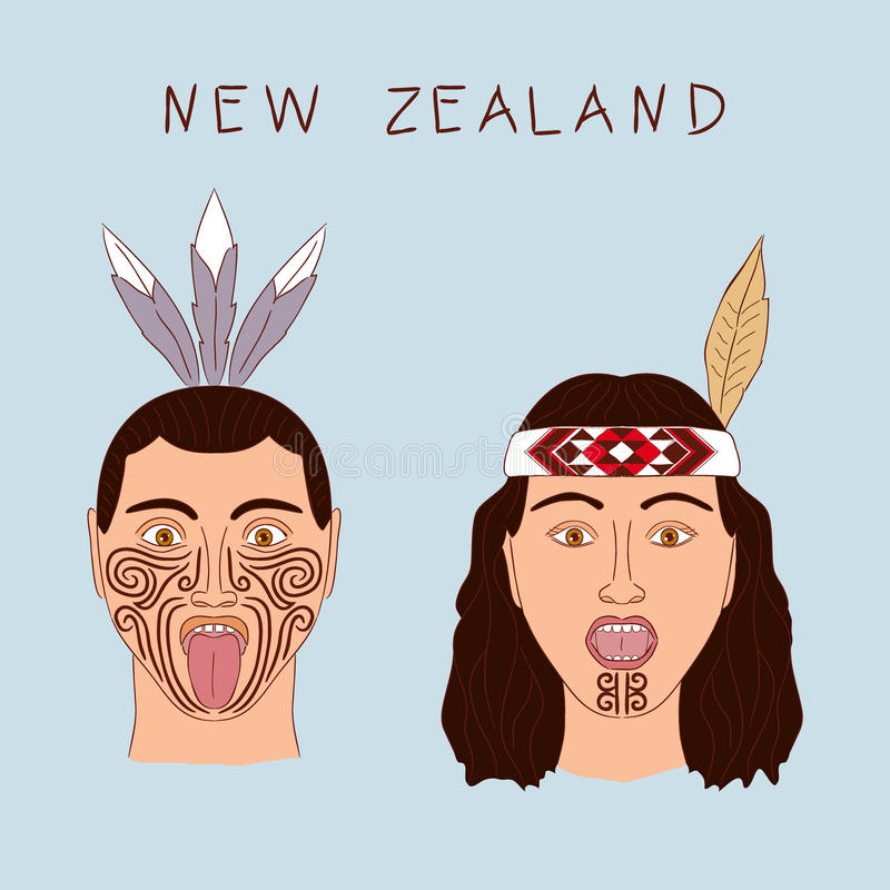 new zealand maori tribe a man and a woman traditional tattoos ta moko and hats feathers. Black Bedroom Furniture Sets. Home Design Ideas
