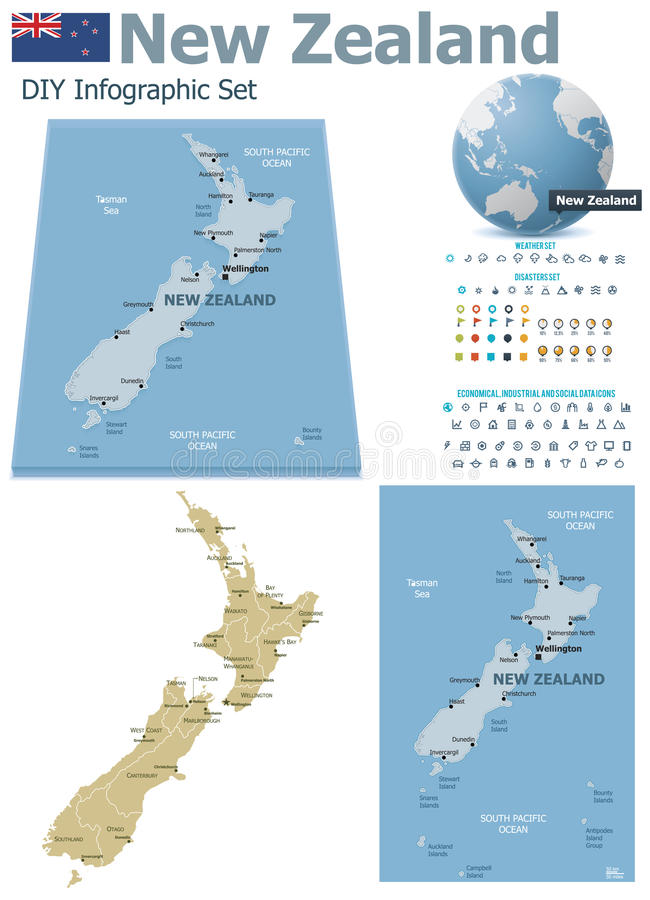 New Zealand maps with markers stock illustration
