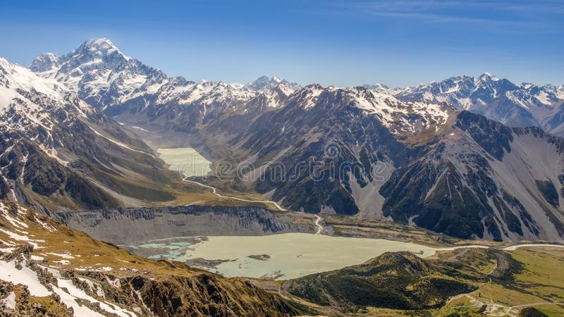 NEW ZEALAND Mount cook from Mueller hut royalty free stock photos