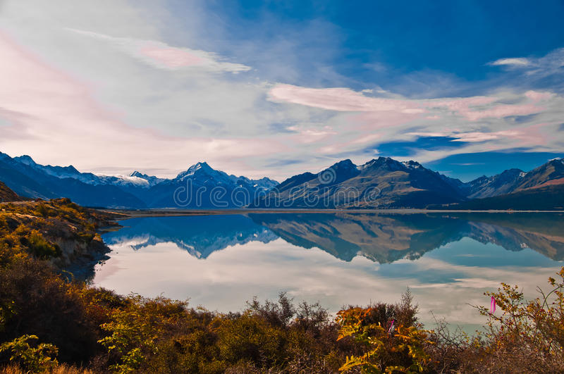 New Zealand. Mountain landscape. Including Aoraki Mt. Cook and Mt. Tasman of Southern Alps. Snowcapped mountains stock photos