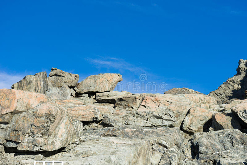 New Zealand. Natural landscape of stone rock with clear blue sky royalty free stock photos