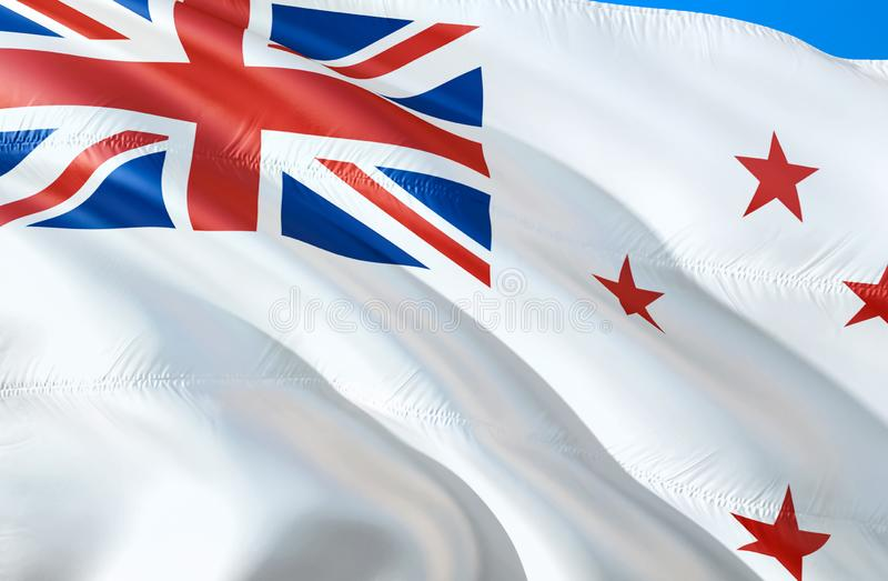 New Zealand Naval ensign flag. 3D Waving flag design. The national symbol of New Zealand Naval ensign, 3D rendering. The national stock images