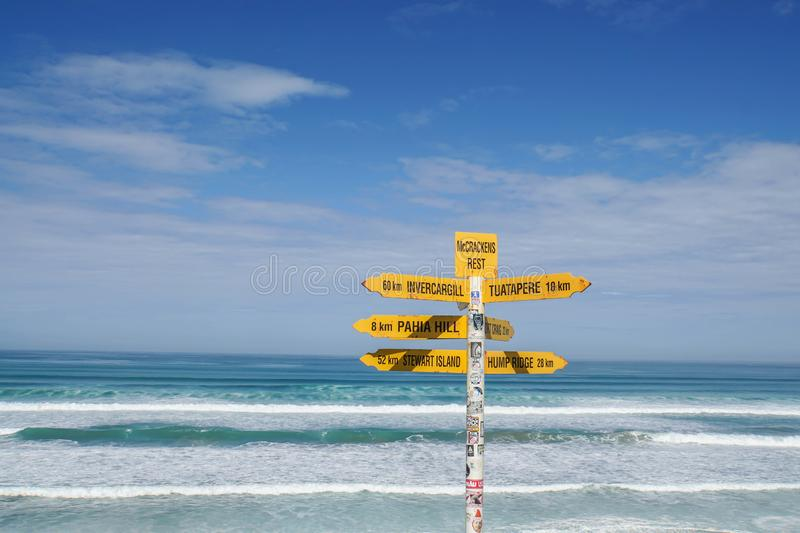 New Zealand - November 28 2018: yellow sign post for direction at Tasman Sea in sunny day royalty free stock images