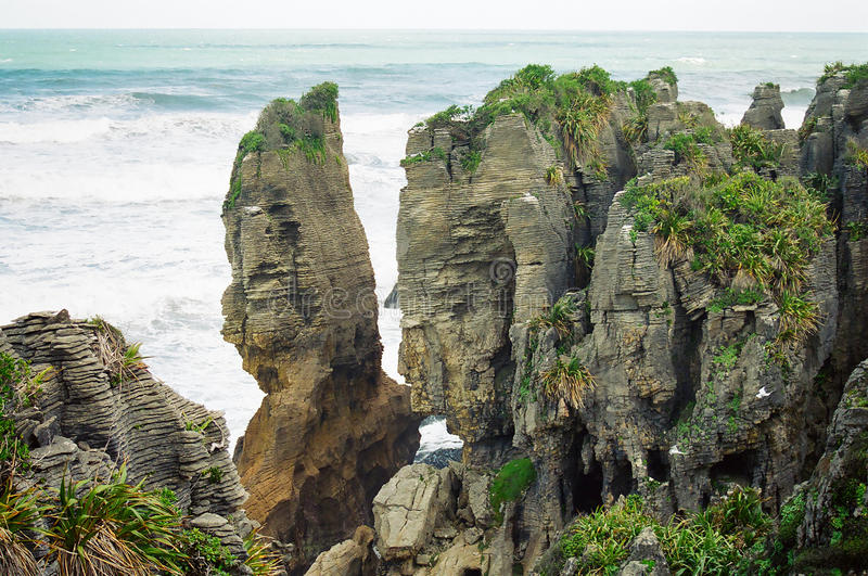 New Zealand pancake rocks stock image