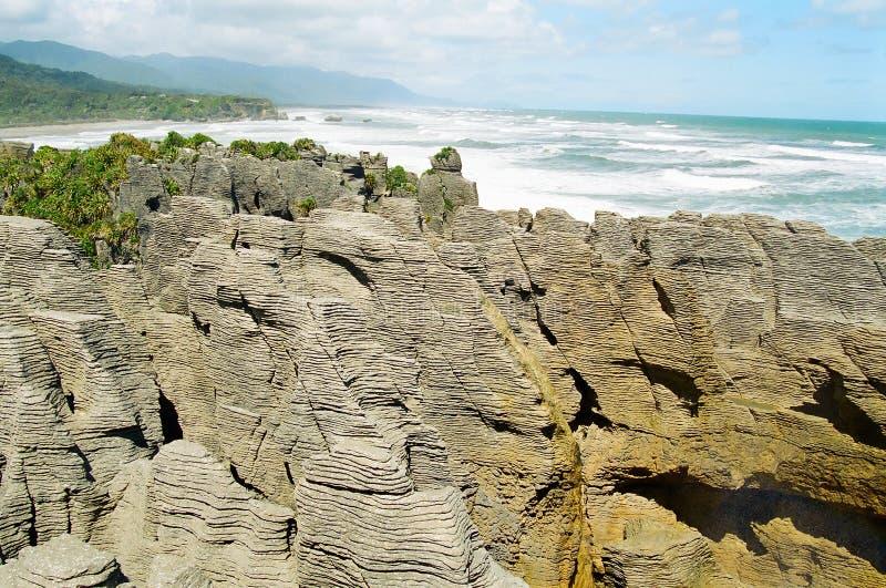 New Zealand pancake rocks stock images