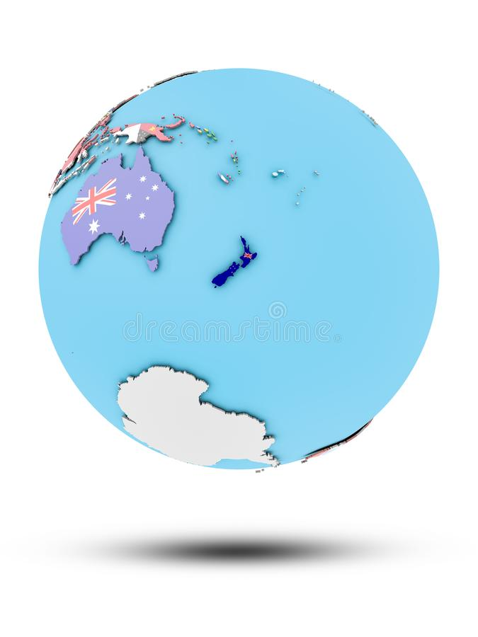 New Zealand on political globe with flags vector illustration